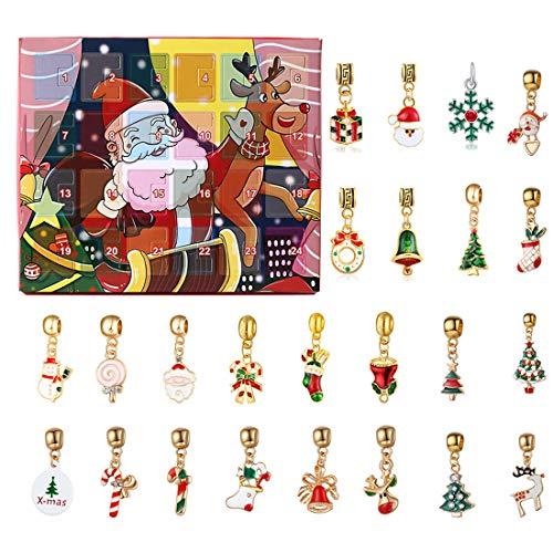 EAYOK Calendario de Adviento de 24 piezas, regalo de joyas, calendario de Adviento de Navidad, colgante para pulsera y collar, calendario de Adviento para niñas y niños (solo 24 accesorios)