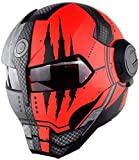 LKCAK Moto Iron Man Casco Integrale trasformatori Flip up Casco D. O. T Certificato Moto d'Epoca Casco Integrato