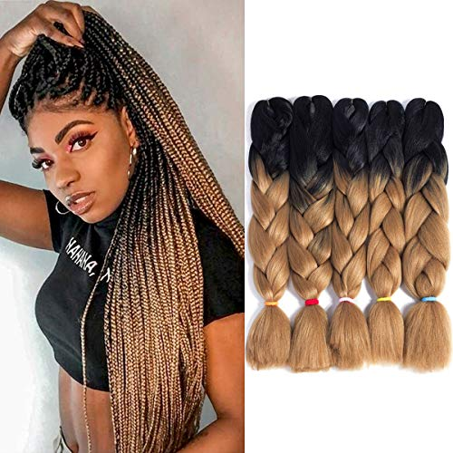 24Inch Ombre Kanekalon Synthetic Jumbo Braid 5Pcs/Lot Twist Hair Extensions Jumbo Braiding Crochet Hair Box Braids (2 Tone Ombre Black to Ash Blonde)