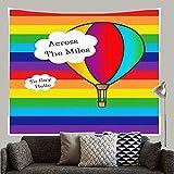N\A Globo de Aire Caliente a lo Largo de Las Millas para Decir Hola Arco Iris Orgullo Gay Tapiz Personalizado Colgante de Pared para Sala de Estar Dormitorio Dormitorio