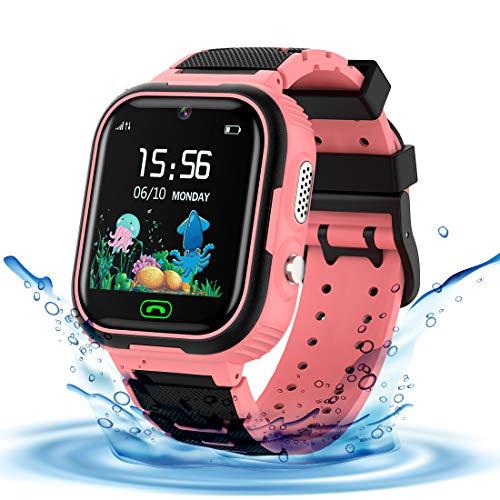 LDB Reloj Inteligente para Niños, SmartWatch Niños LBS Tracker SOS Impermeable Pantalla Táctil Llamada Bidireccional cámara de 3-12 Años Perfecto Regalo de Cumpleaños para Niños Niñas (Rosa)