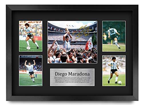 HWC Trading Diego Maradona Fußball-Legende signiert A3 gedrucktes Autogramm Foto Display (Argentinien A3 gerahmt)