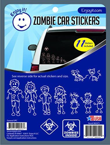 Enjoy It Zombie Car Stickers, 11 Pieces, Outdoor Rated Vinyl Sticker Decals