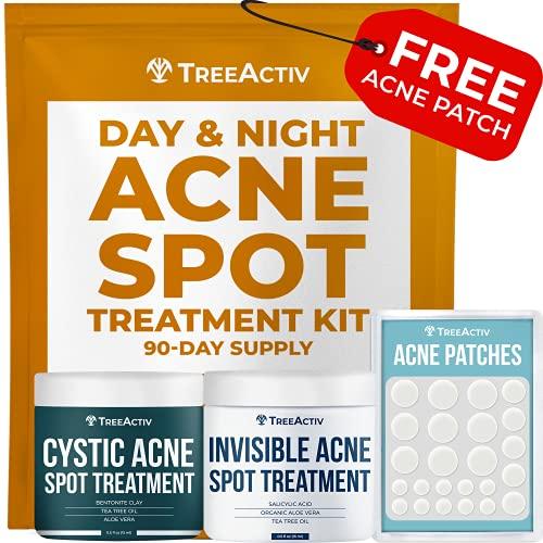 TreeActiv Day and Night Acne Spot Treatment Kit | Sulfur 3%, Salicylic...