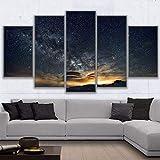 5 piezas de lienzo de arte de pared - Arte de Pared - Paisaje nocturno estrellado - Cuadros de Lienzo nórdico - 5 Piezas Lona Murales Cuadro - Impresión en Lienzo - Enmarcado