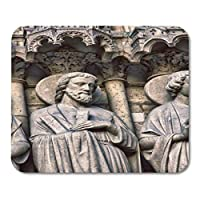 ファッションが流行するマウスパッドノートルダムドパリ大聖堂ゴシック様式建築の詳細伝道者ピーターポールマークルークファッションが流行するマウスパッドノートブック、デスクトップコンピューターマウスマット、事務用品