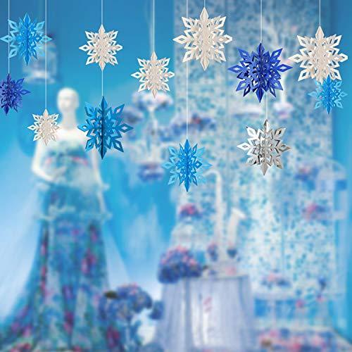 Adornos con Forma de Copos de Nieve, PTN Copo de Nieve de Papel 3D Copo, Adornos de Copos de Nieve Tridimensionales, 30 Colgantes de Copos de Nieve, Adecuado para Fiesta, Cumpleaños, Decoración