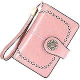 Cartera Mujer Mediana Bloqueo RFID Billeteras Mujer Piel Autentica con Cremallera, Gran Capacidad Billetera Monedero Mujer con Portafoto, Carteras Elegante Mujer con Correa Muñeca 13 Tarjetas (Rosa)