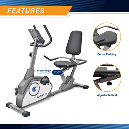 Product Image 5: Marcy Magnetic Recumbent Exercise Bike with 8 Resistance Levels NS-40502R,Grey
