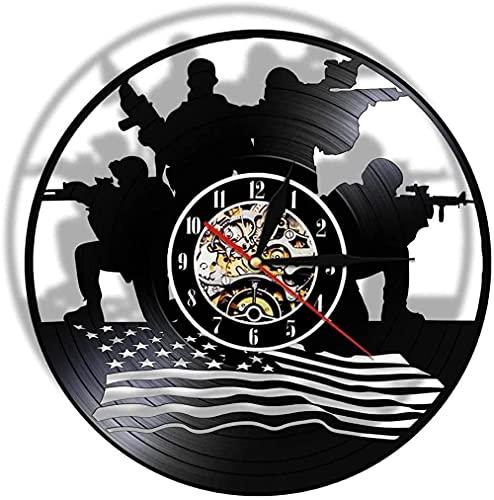 yltian Diseño patriótico Militar decoración de Arte de Pared Reloj Soldado con Bandera Disco de Vinilo Reloj de Pared Regalo para Soldados Veteranos