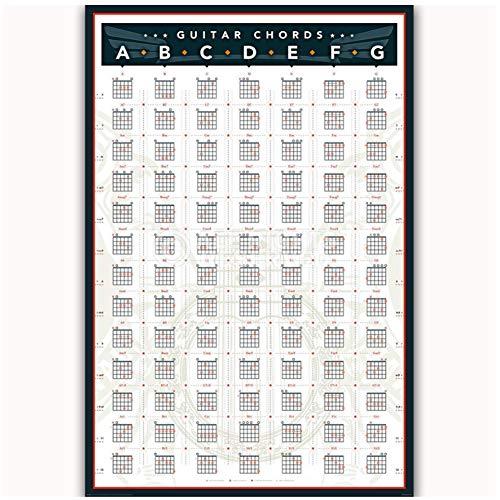 Nieuwe Gitaar akkoorden Grafiek door Key Muziek Training Band Poster Art Licht Canvas Moderne Home Kamer Muurdruk Decor-50x70cmx1st -Geen Frame