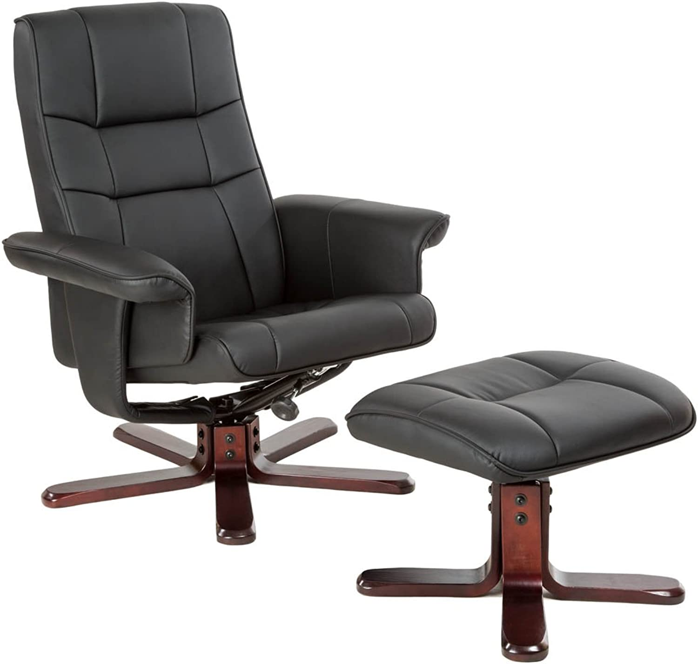 TecTake Fernsehsessel mit Hocker TV Sessel kippbar drehbar aus schwarzem Kunstleder mit Holzfüen - Diverse Modelle - (Dunkle Fukreuz  Nr. 401438)