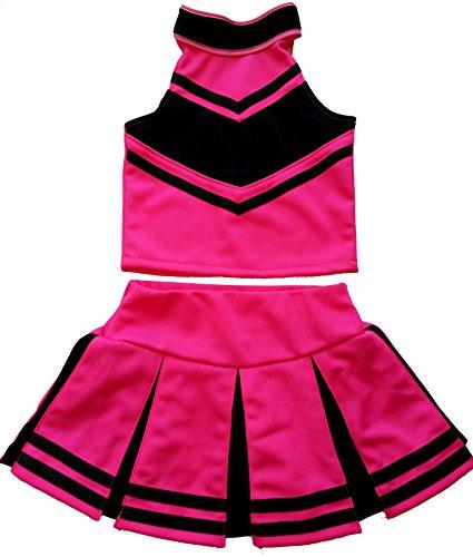 Little Girls' Cheerleader Cheerleading Outfit Uniform Costume Cosplay Halloween Pink/Black (M / 5-8)
