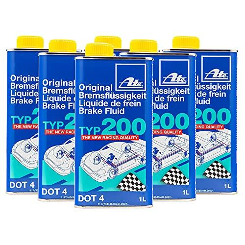 ATE 706202 Original TYP 200 DOT 4 Brake Fluid - 1 Liter, 6 Pack