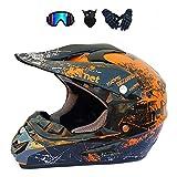 LALAGOU - Casco de motocross para niño, casco de moto, quad, casco de motocross, para adulto, para MTB, ATV, con gafas, guantes, máscaras, color múltiple (B, M 54-55 cm)