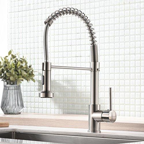 Küchenarmatur mit Brause ausziehbar - Spiralfeder Schlauch & 360° schwenkbar - matt gebürstetes Nickel Premium Design - Einhebel Mischbatterie & Pull-Down-Spray - Hochdruck Wasserhahn f. Spültisch