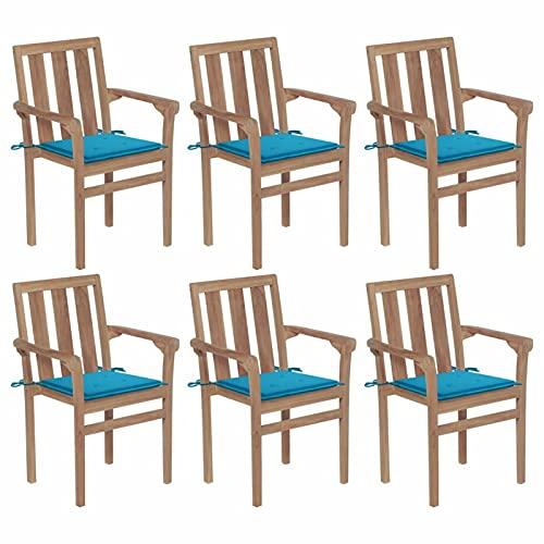 Tidyard Juego de 6 Sillas Apilables de Jardín con Cojines Asiento para Terraza Sillón de Patio Muebles Exterior Madera Maciza Teca 58x50x89 cm Azul