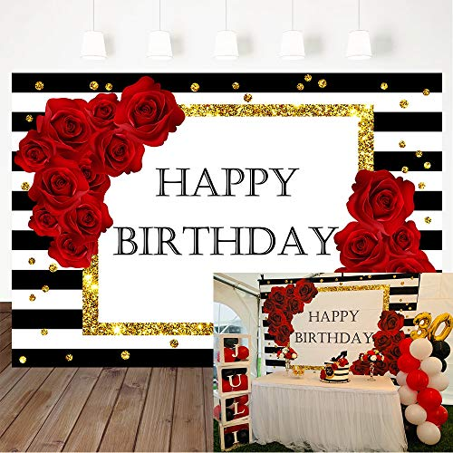 Mehofoto Happy Birthday Backdrop Black White Striped Background 7X5ft Vinyl Red Rose Party Decorate Golden Dot Birthday Party Banner Decoration Supplies Photography Backdrops Props