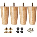 Wood Furniture Legs 5 inch Couch Legs,Pack of 4 Round Couch Legs, Replacement Legs for Couch for Dresser Legs Sideboard Recliner Couch Circle Chair Couch Riser Coffee Table