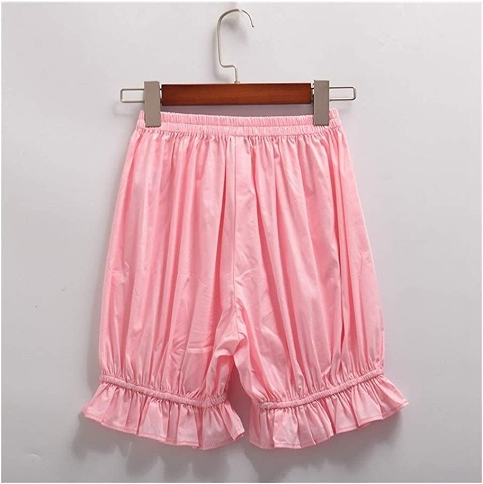 FKJSP Women Lace Cotton Shorts Lolita Girls Bloomers Cosplay Safety Pants Bottoms girls (Color : Pink, Size : One Size)