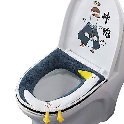 LxwSin Copriwater Caldo, Coprisedile per WC, Copriwater Morbido Universale, Caldo Toilette Copri Sedile Tappetino con Cerniera e Maniglia, Coprisedile WC in Pelle Antibatterica Lavabile Impermeabile