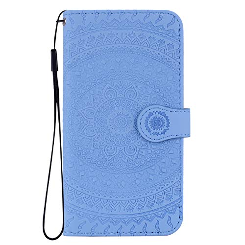 iPhone SE / iPhone 5S 5 Hülle Stoßfest PU Leder Flip Wallet Phone Cases 3D Mandala Folio Magnetic Protective Cover TPU Bumper mit Kickstand ID Card Slots für iPhone SE / iPhone 5S 5 Baby Blue