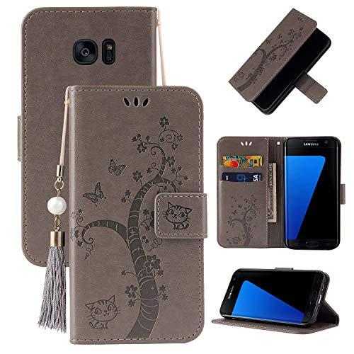 Miagon Brieftasche Flip Hülle für Samsung Galaxy S7,Schön Schmetterling Baum Katze Design PU Leder Buch Stil Stand Funktion Handyhülle Case Cover,Grau