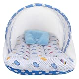 CuteBabyLove Cotton Baby's Bedding Set with Mosquito Net (Sky Blue, 0-9 Months)