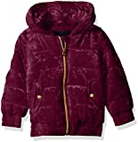 Limited Too Girls' Little Quilted Velvet Bomber Jacket with Hood, Burgundy, 5/6