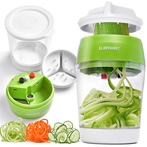 ELIRIVAWET Spiralschneider Hand für Gemüsespaghetti, Gemüse Spiralschneider mit Behälter, Gemüsehobel für Karotte, Gurke, Kartoffel,Kürbis, Zucchini, Zwiebel