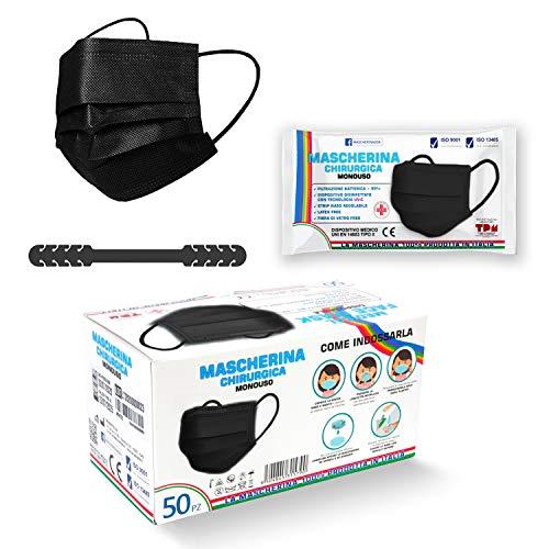 50pz Mascherine Nere Chirurgiche per Adulti Made in Italy Certificate CE Classe I Tipo II BFE ≥ 99% Latex Free Incluso Salvaorecchie (Colore Nero)
