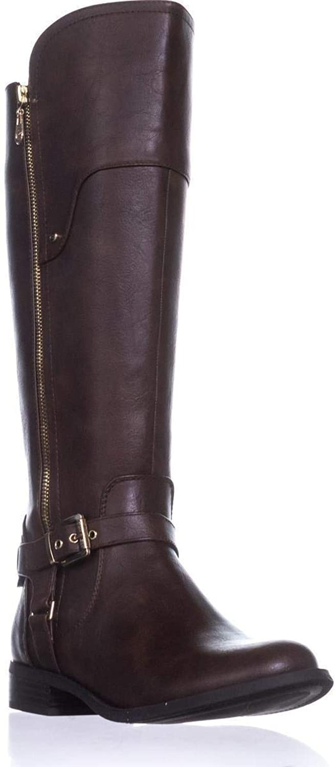 G By Guess Womens Harson Closed Toe Knee High Chelsea Boots, Brown, Size 7.0