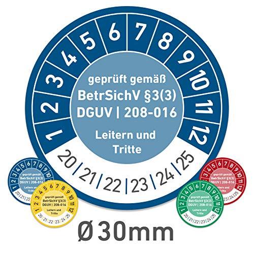 Leitern und Tritte Wartungsplaketten Prüfplaketten geprüft gemäß BetrSichV 30mm (500, blau)