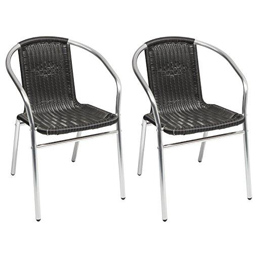 Mojawo 2 Sück Qualität Aluminium/Polyrattan Bistrostuhl stapelbar Stapelstuhl Campingstuhl Gartenstuhl Küchenstuhl Balkonmöbel Gartensitzmöbel Silber/Schwarz