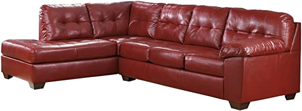 Ashley Furniture Signature Design - Alliston 2-Piece Sectional - Right Arm Facing Sofa & Left Arm Facing Corner Chaise - Salsa Red