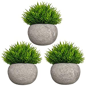 Mini Artificial Plants 3 Pack Fake Plants Potted Faux Green Grass Topiary Shrubs with Pots for House, Farmhouse, Bathroom, Office, Home Decor