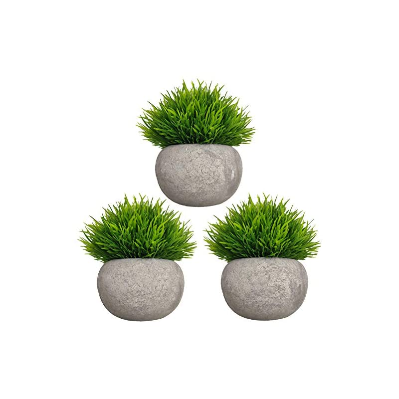 silk flower arrangements mini artificial plants 3 pack fake plants potted faux green grass topiary shrubs with pots for house, farmhouse, bathroom, office, home decor