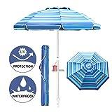 Aclumsy 7ft Beach Umbrella with Tilt Aluminum Pole and UPF 50+, Air Vents Design...