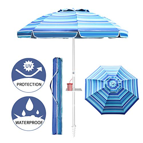 Aclumsy 7ft Beach Umbrella with Tilt Aluminum Pole and UPF 50+, Air Vents Design and Portable Sun Shelter for Sand and Outdoor Activities - Blue White Stripe