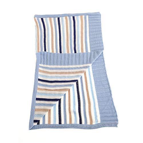 Ziggle couverture pour bébé en bleu et beige rayé pour nursery lit et pram, peignées coton tricoté, nouveau cadeau bébé