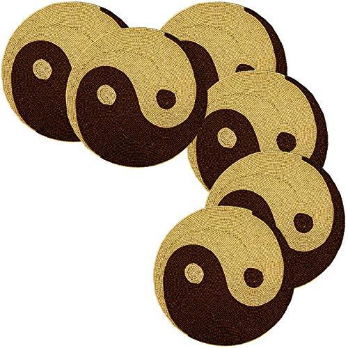 Popular Life Home Zen - Manteles individuales bordados con cuentas de madera y cuentas de Yin & Yang | Manteles individuales con...