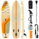PORTAL Stand Up Paddle Board, 10'x32 x6 Inflatable Paddle Boards with SUP Accessories Including Carry Bag, Hand Pump, Paddle, Leash, Fin, Repair Kit, Waterproof Phone Case, Beige