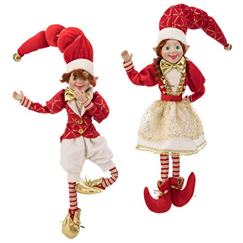 ARCCI 26.5 Inch Christmas Elves, Set of 2 Red and White Posable Elf Christmas Figure, Xmas Holiday Party Home Decoration - White & Red