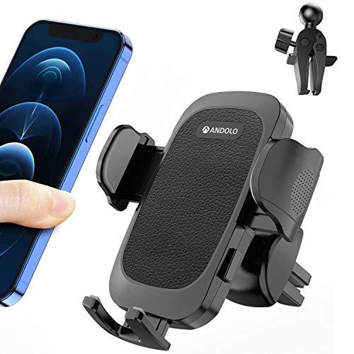 Porta Cellulare Da Auto, ANDOLO Supporto Smartphone per Auto Universale con Rotazione a 360 Gradi, 2 Clip di Ventilazione per Tutti i Modelli di Telefono Da 4-7
