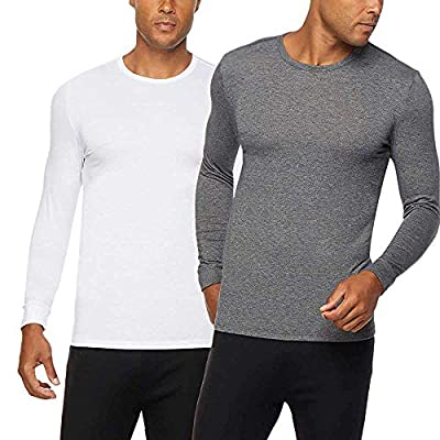 32 DEGREES Men's Heat Long Sleeve Crew Neck Tee 2-Pack (White/Charcoal, Large)