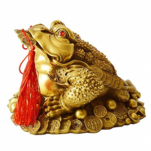Feng Shui Chinese Money Wealth Fortune 3 Leg legged Dk Red Resin Gold Coin Frog
