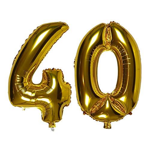 DIWULI, XL Zahlen-Ballons, Zahl 40, goldene Luftballons, Zahlenluftballons Gold, Folien-Luftballons Nummer Nr Jahre, Folien-Ballons 40. Geburtstag, Hochzeit, Party, Dekoration, Geschenk-Deko