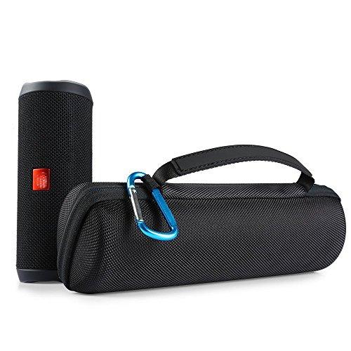 Shucase Tasche für JBL Flip 4 tragbarer Bluetooth Lautsprecher Tragetasche mit Reißverschluss Passend für Ladegeräte und USB-Kabel(Schwarz)