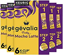 Gevalia Frothy 2-Step Mocha Latte Espresso K-Cup Coffee Pods & Froth Packets Kit (36 ct Pack, 6 Boxes of 6 Pods with Packets )