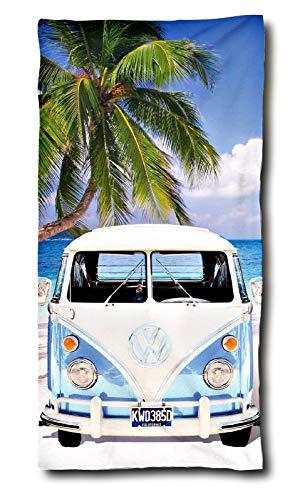 VW Bulli Handtuch Palme Strand 75x150 cm | VW Bulli Geschenke | VW Bus Badetuch Baumwolle | Camping Strandtuch Volkswagen T1 T2 T3